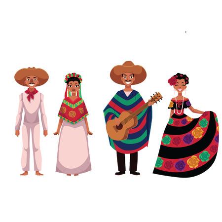 Reeks Mexicaanse mensen, mannen en vrouwen, in traditionele nationale kostuums, beeldverhaal vectordieillustratie op witte achtergrond wordt geïsoleerd. Mensen van Mexico, Mexicaanse mannen en vrouwen in nationale kleding Stock Illustratie