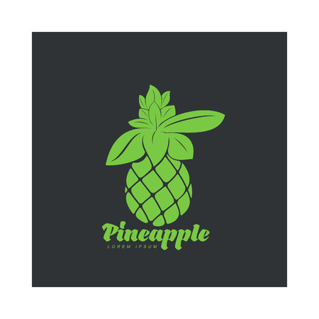 Two tone assymmetric graphic silhouette pineapple logo template, vector illustration isolated on black background. Stylized, simplified graphic pineapple logotype, logo design