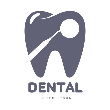 Graphic, black and white tooth, dental care logo template with mirror silhouette over tooth shape, vector illustration isolated on white background. Stylized tooth, dental care logotype, logo design Иллюстрация