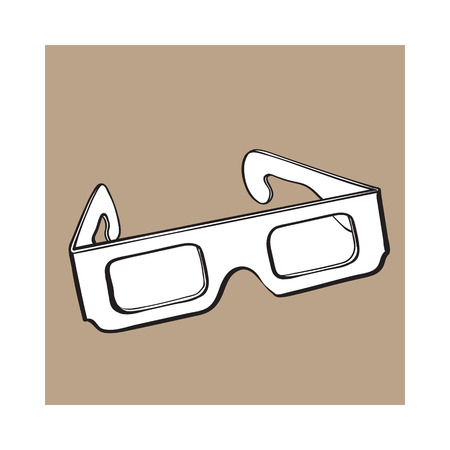 Stereoscopic, 3d glasses in black plastic frame, sketch style vector illustration isolated on brown background. Hand drawn 3d stereoscopic glasses, cinema object Illustration