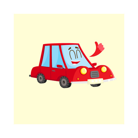 and delighted: Cute and funny red car, auto character showing thumb up, happy and delighted, cartoon vector illustration isolated on white background. Funny red car character, mascot giving thumb up Illustration