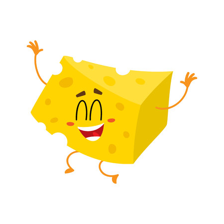 Cute and funny cheese chunk character jumping from happiness hands up, cartoon vector illustration isolated on white background. Funny, happy, laughing cheese piece character, mascot with human face