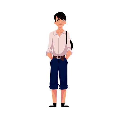Japanese teenage schoolboy in typical uniform wearing white shirt and shorts, cartoon vector illustration isolated on white background. Full length portrait of typical Japanese schoolboy