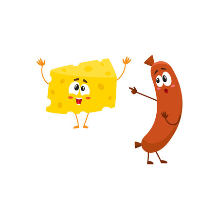 Embarrassed frankfurter sausage character pointing to funny cheese chunk, cartoon vector illustration isolated on white background. Funny cheese and sausage characters, mascots with human faces Çizim