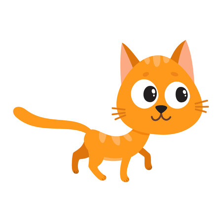 Cute and funny red cat character, curious, playful, mischievous, cartoon vector illustration isolated on white background. Cute and funny red cat character walking curiously, looking aside