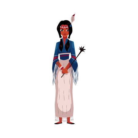 Native American Indian woman in traditional national tribal fringed shirt and long skirt, cartoon vector illustration isolated on white background. Native American, Indian woman in national clothes