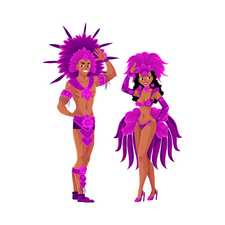 Man and woman dressed for Brazilian carnival in Rio de Janeiro, samba dancers in feather suits, cartoon vector illustration isolated on white background. Brazilian couple in carnival feather suits
