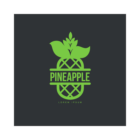 Two tone assymmetric graphic pineapple logo template, vector illustration isolated on black background. Stylized line art graphic pineapple logotype, logo design