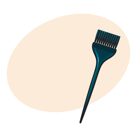 Color mixing plastic hairdresser brush, hairbrush, sketch style vector illustration with place for text. Hairbrush, coloring brush, hairdresser tool for hair bleaching and coloring