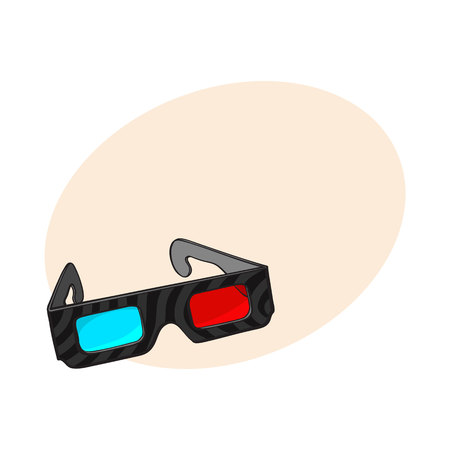 Typical blue and red stereoscopic, 3d glasses in black plastic frame, sketch style vector illustration with place for text. Hand drawn 3d stereoscopic glasses, cinema object