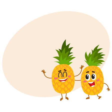 Two cute and funny pineapple characters, one tickling the other, cartoon vector illustration with place for text. Couple of funny pineapple characters, mascots having fun together Illustration