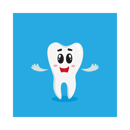 Cute and happy shiny white tooth character, welcome, greeting, dental care concept, isolated cartoon vector illustration. Welcoming, greeting happy tooth character, mascot, dental health care symbol