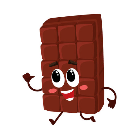Cute chocolate bar character with funny face hurrying somewhere, cartoon vector illustration isolated on white background. Funny chocolate character, mascot, emoticon