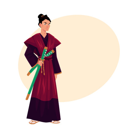 Japanese samurai, warrior in traditional kimono with katana swords, symbol of Japan, cartoon vector illustration with place for text. Full length portrait of Japanese samurai with swords Illustration