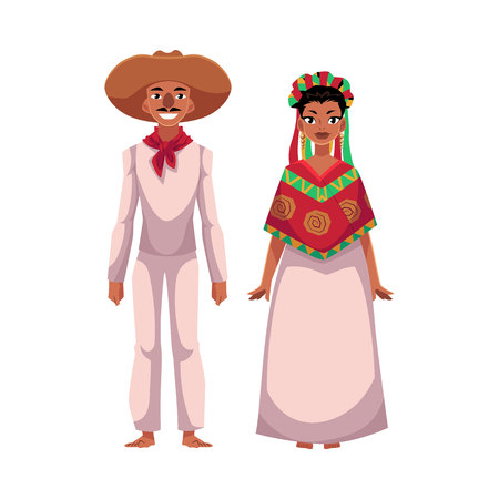 Mexican man and woman in traditional national clothes, sombrero, head wreath, poncho, cartoon vector illustration isolated on white background. Mexican couple, man and woman, in national costumes