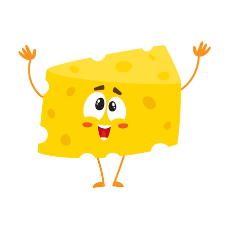 Cute and funny cheese chunk character greeting, welcoming with hands raised up, cartoon vector illustration isolated on white background. Funny greeting cheese piece character, mascot with human face