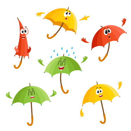 Cute and funny umbrella characters with human face showing different emotions, cartoon vector illustration isolated on white background. Set of umbrella, parasol characters, mascot, design elements Illustration