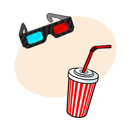 feature film: Cinema objects - 3d, stereoscopic glasses and soda water in striped paper cup, sketch vector illustration with place for text. Typical movie attributes like soft drink and 3d glasses