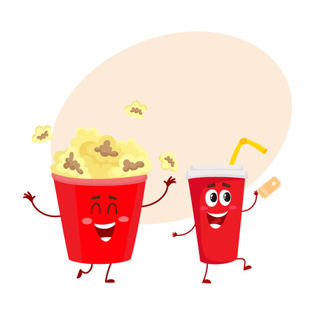 Cinema popcorn and soda water characters with smiling human face, cartoon vector illustration with place for text. Funny cinema popcorn bucket and soda water cup character, mascot Stock Vector - 74314084