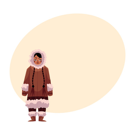 Eskimo, Inuit woman in traditional warm winter clothes with long plaits, cartoon vector illustration with place for text. Full length portrait of Eskimo, Inuit woman and standing upright
