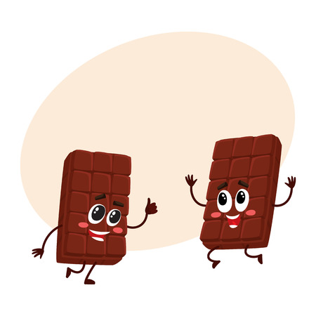 pareja comiendo: Two funny chocolate bar characters jumping from happiness and excitement, cartoon vector illustration with place for text. Couple of funny jumping chocolate characters, mascots Vectores