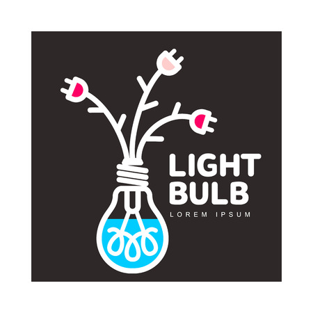 Light bulb logo template with flowers formed by powers cables and electric plugs, vector illustration isolated on black background. Light bulb logotype, logo design with power cables. Illustration