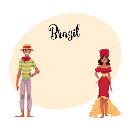 barefoot cowboy: Man dressed for Festa Junina party and woman in ruffled skirt and headdress, Brazilian people, cartoon vector illustration with place for text. Couple dressed for carnival party Illustration