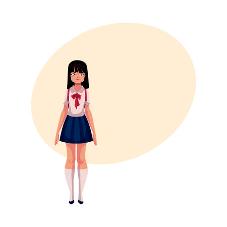 knee sock: Japanese teenage schoolgirl in typical uniform wearing short skirt and red bow tie, cartoon vector illustration with place for text. Full length portrait of typical Japanese schoolgirl Illustration
