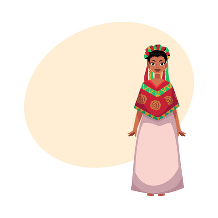 Mexican woman in national clothes, serape shawl and flower crown, head wreath, cartoon vector illustration with place for text. Full length portrait of Mexican woman in national clothes Illustration