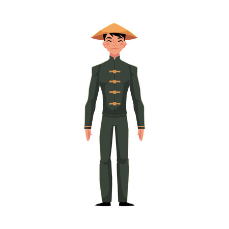 Chinese man in traditional national costume of buttoned tunic, pants in conical hat, cartoon vector illustration isolated on white background. Man in Chinese national clothes, costume