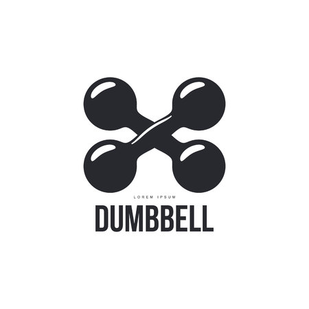 cast iron: Graphic logo template with two crossing iron cast retro style dumbbells, vector illustration isolated on white background. Graphic  logotype, logo design with crossing dumbbells Illustration
