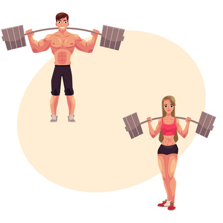 Man and woman bodybuilders, weightlifters working out, training with barbells, cartoon vector illustration with place for text. Full length portrait of bodybuilders with barbells