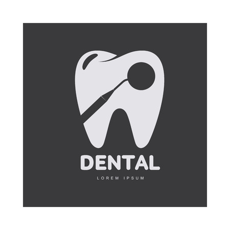 Graphic, black and white tooth, dental care logo template with mirror silhouette, vector illustration isolated on black background. Stylized tooth, dental care logotype, logo design