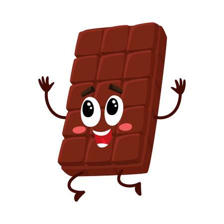 Cute chocolate bar character with funny face jumping from happiness and excitement, cartoon vector illustration isolated on white background. Happy, excited mascot, emoticon