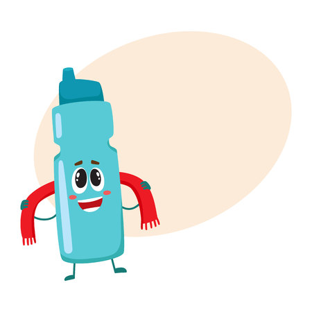 dietary: Funny protein shaker bottle character with human face rubbing itself with a towel, cartoon vector illustration with place for text. Smiling protein shaker bottle character, sport equipment
