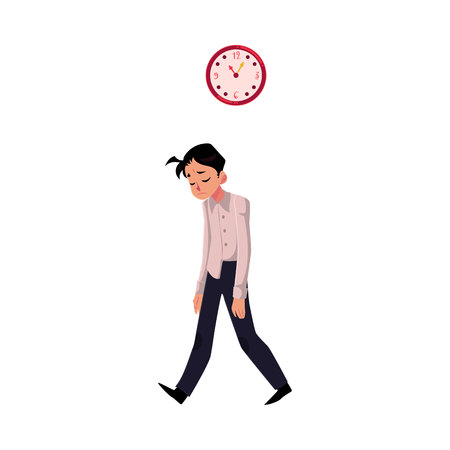 Young tired, upset, exhausted businessman feeling a mess, dragging feet home after hard working day, cartoon vector illustration isolated on white background. Businessman, employee sad.