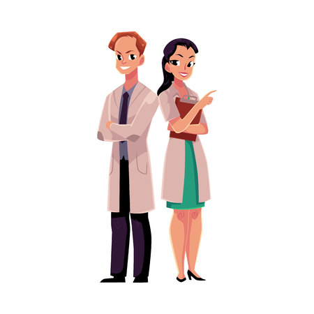arms folded: Doctors in white medical coats, man with arms folded, woman pointing right, cartoon vector illustration isolated on white background. Full length portrait of two doctors, front view