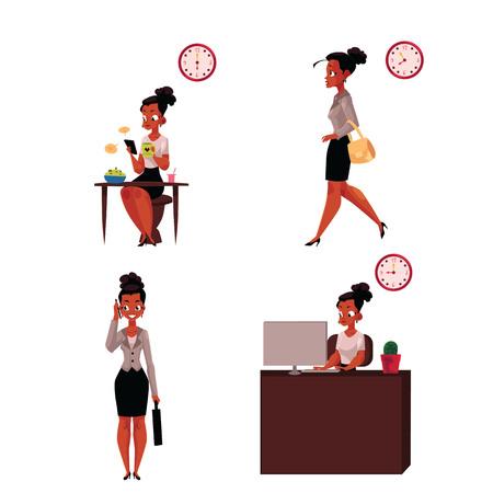 -アフリカ系アメリカ人実業家の作業日朝食、急いで、電話、オフィスでは、白い背景で隔離の漫画ベクトル図の話。アフリカの実業家の仕事日