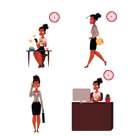Work day of African American businesswoman - breakfast, hurrying, talking by phone, in office, cartoon vector illustration isolated on white background. Work day of African businesswoman Иллюстрация