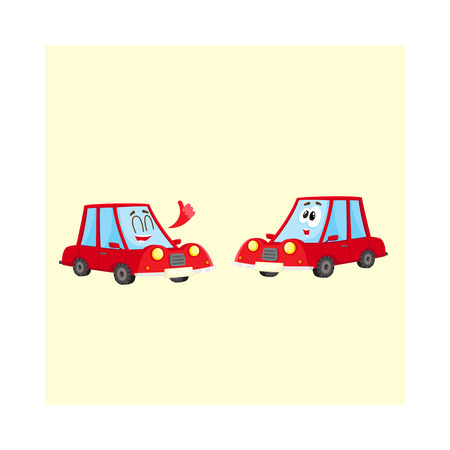 Two funny red car characters, one showing thumb up, another surprised, cartoon vector illustration isolated on white background. Mascots, giving thumb up and awed