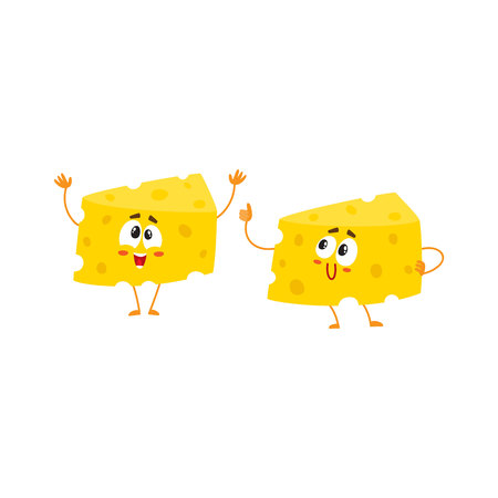 Two funny cheese chunk characters, one showing thumb up, another greeting, good quality concept, cartoon vector illustration isolated on white background. Mascots