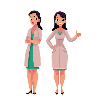 Two female doctors in white medical coats, one with arms folded, another showing thumb up, cartoon vector illustration isolated on white background. Full length portrait of two doctors