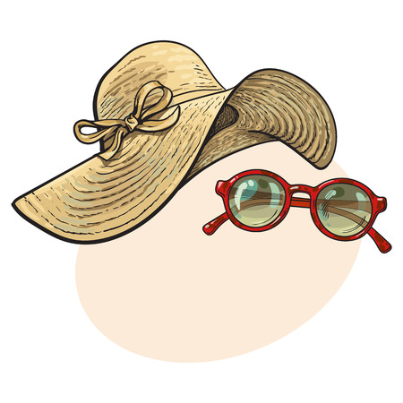 Fashionable straw hat with wide flaps and sunglasses in red round frame, summer objects, sketch vector illustration with place for text. Hand drawn floppy straw hat and round sunglasses Illustration