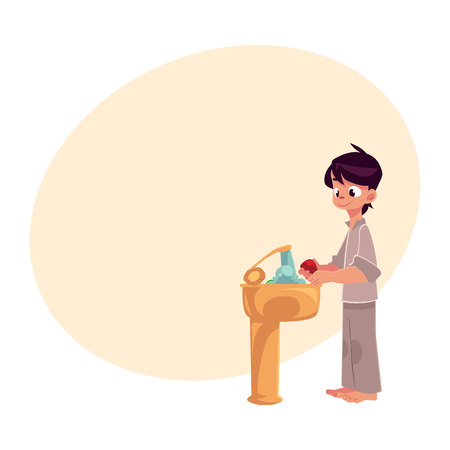 wash hand stand: Little boy in pajamas washing hands with soap under running water, hygiene concept, cartoon vector illustration with place for text. Boy washing hands, hygiene, health care concept Illustration
