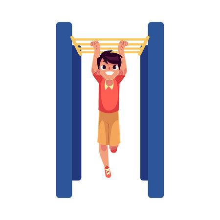 Teenage Caucasian boy climbing, hanging on monkey bars at the playground, cartoon vector illustration isolated on white background. Boy climbing monkey bars, having fun at the playground