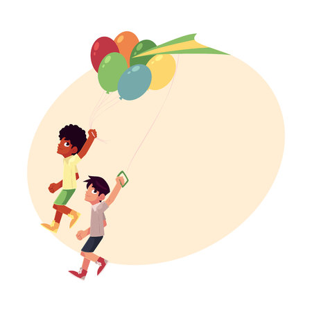 Two boys, black African and Caucasian, running together with balloons and kite, cartoon vector illustration with place for text. Black African and Caucasian boys, friends running together Illustration