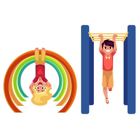 Teenage boy and girl climbing, hanging on monkey bars at playground, cartoon vector illustration isolated on white background. Kids, boy and girl hanging on monkey bars, having fun at playground Illustration