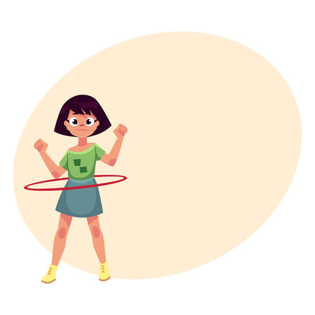 hula hoop: Teenage Caucasian girl spinning, playing with hula hoop, cartoon vector illustrationwith place for text. Girl with hula hoop, having fun at the playground Illustration