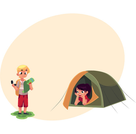 Camping kids - boy studying map with compass and girl looking out of tent, cartoon vector illustration