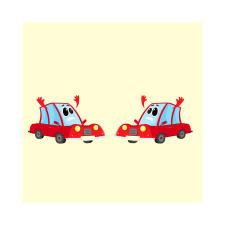 Two funny red car, auto characters absolutely dismayed and despaired, cartoon vector illustration isolated on white background. Couple of red car characters, mascots with flinging hands in despair